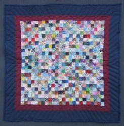 Custom Amish Quilts - Postage Stamp Navy Small Quilt Wall Hanging