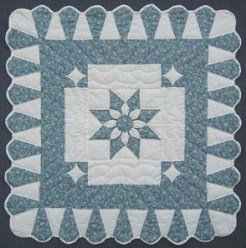 Custom Amish Quilts - Blue Dahlia Star Small Quilt Wall Hanging