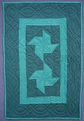 Custom Amish Quilts - Dutch Green Pinwheel Small Quilt Wall Hanging