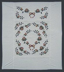 Custom Amish Quilts - Ribbon Roses Applique Quilt Top