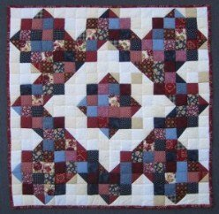 Custom Amish Quilts - Improved Nine Patch Small Quilt Wall Hanging Certified Kathryn