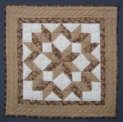Custom Amish Quilts - Tan Brown Snowflake Star Small Quilt Wall Hanging Certified Anna