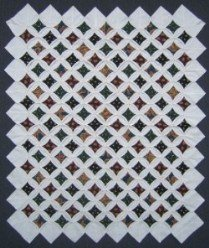 Custom Amish Quilts - Cathedral Window Gold Navy Small Quilt Wall Hanging  10A Postage Stamp Quilt Top