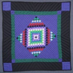 Custom Amish Quilts - Amish Dutch Central Diamond Royal Blue Small Quilt Wall Hanging