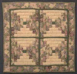 Custom Amish Quilts - Lilac Log Cabin Small Quilt Wall Hanging