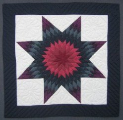 Custom Amish Quilts - Navy Lone Star Small Quilt Wall Hanging