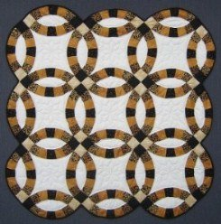 Custom Amish Quilts - Gold Black Double Wedding Ring Small Quilt Wall Hanging