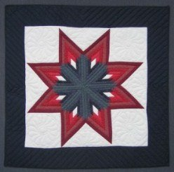 Custom Amish Quilts - Lone Fan Star Small Quilt Wall Hanging