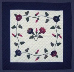 Custom Amish Quilts - Morning Glory Applique Small Quilt Wall Hanging