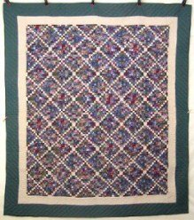 Custom Amish Quilts - Postage Stamp Patchwork Green