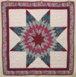 Custom Amish Quilts - Lone Star Red Green Small Quilt Wall Hanging