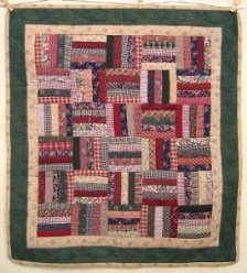 Custom Amish Quilts - Scraps Rail Fence Certified Small Quilt Wall Hanging