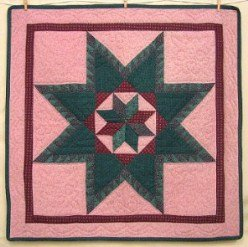 Custom Amish Quilts - Sawtooth Star Certified Small Quilt Wall Hanging