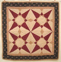 Custom Amish Quilts - Twirling Compass Star Certified Small Quilt Wall Hanging