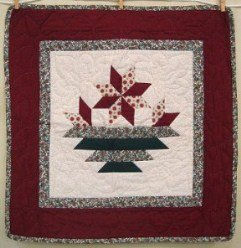 Custom Amish Quilts - Poinsettia Christmas Patchwork Certified Small Quilt Wall Hanging
