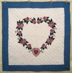 Custom Amish Quilts - Heart Roses Blue Certified Small Quilt Wall Hanging