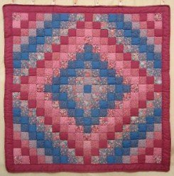 Custom Amish Quilts - Puffy Red Pink Blue Trip Around World Certified Small Quilt Wall Hanging