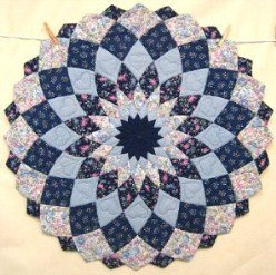 Custom Amish Quilts - Dahlia Blue Small Quilt Wall Hanging