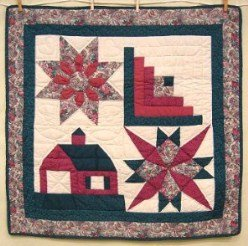 Custom Amish Quilts - Sampler Green Red Small Quilt Wall Hanging