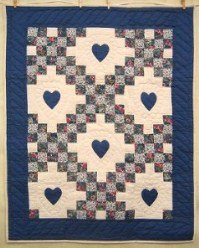 Custom Amish Quilts - Blue Irish Chain Small Quilt Wall Hanging