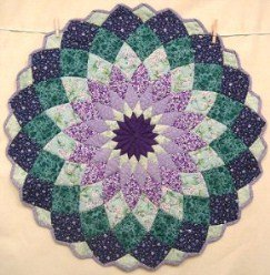Custom Amish Quilts - Giant Dahlia Purple Green Certified Small Quilt Wall Hanging