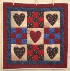 Custom Amish Quilts - Love Nine Patch Certified Small Quilt Wall Hanging