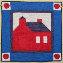Custom Amish Quilts - Red School House Small Quilt Wall Hanging