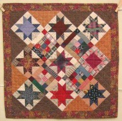 Custom Amish Quilts - Log Cabin Stars Patchwork Small Quilt Wall Hanging