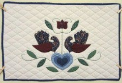 Custom Amish Quilts - Country Bride Birds Heart Applique Small Quilt Wall Hanging