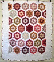 Custom Amish Quilts - Grandmothers Flower Garden Patchwork Burgundy Gold