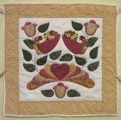 Custom Amish Quilts - Country Bride Bird Applique Gold Burgundy Small Quilt Wall Hanging