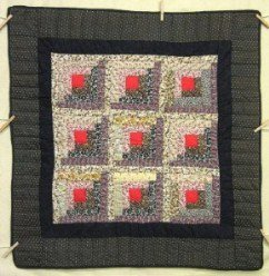Custom Amish Quilts - Scrappy Log Cabin Small Quilt Wall Hanging