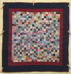 Custom Amish Quilts - Postage Stamp Patchwork Navy Burgundy Small Quilt Wall Hanging