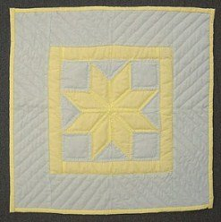 Custom Amish Quilts - Eight Pointed Star Small Quilt Yellow Lavendar