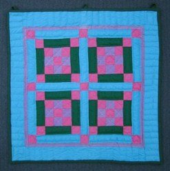Custom Amish Quilts - Improved Nine Square Patchwork Small Quilt Wall Hanging Dutch Colors