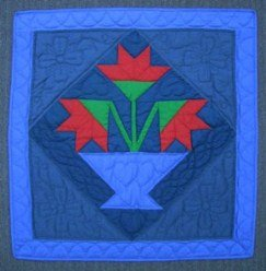Custom Amish Quilts - Jacobs Lily Amish Dutch Colors Small Patchwork Quilt Wall Hanging Blue Red
