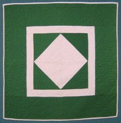 Custom Amish Quilts - Amish Plain Central Diamond Patchwork Small Quilt Wall Hanging Green Pink
