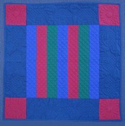 Custom Amish Quilts - Amish Dutch Color Bars Small Quilt Wall Hanging Blue Red Green