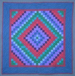 Custom Amish Quilts - Amish Dutch Color Trip Around the World Small Quilt Wall Hanging Blue Red Green
