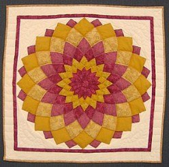Custom Amish Quilts - Dahlia Small Patchwork Wall Hanging Pink Yellow