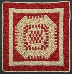 Custom Amish Quilts - Brick Steps Patchwork Small Quilt Wall Hanging Red Tan