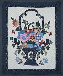 Custom Amish Quilts - Blooming Flower Basket Applique Small Quilt Wall Hanging Navy Blue