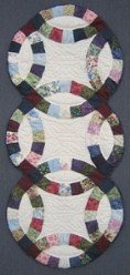 Custom Amish Quilts - Wedding Ring Small Quilt Wall Hanging Navy Burgundy