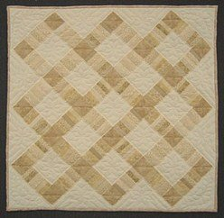Custom Amish Quilts - Risen Cross Patchwork Small Quilt Wall Hanging Navy Yellow