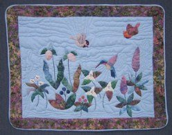 Custom Amish Quilts - Hummingbird Flower Garden Applique Small Quilt Wall Hanging