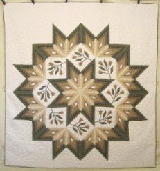 Custom Amish Quilts - Shining Flower Fan Star Green Tan