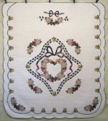 Custom Amish Quilts - Victorian Rose Bouquet Wreath Applique Tan Burgundy