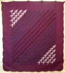 Custom Amish Quilts - Turkey Tracks Patchwork Burgundy
