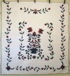 Custom Amish Quilts - Butterfly Birds Bouquet Applique Green Red