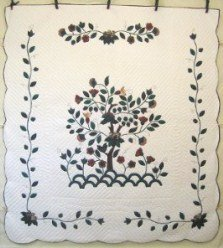 Custom Amish Quilts - Tree Flowers Life Applique Green Border